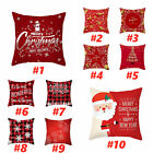 "18"" Christmas Santa Claus Cushion Cover Pillows Case Xmas Home Sofa Throw Decor"