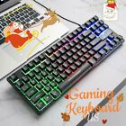 K16 Pc Gaming Keyboard Rainbow Led Backlit Wired 87keys For Office, Play Games
