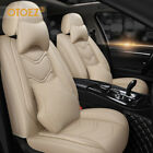Leather Car Seat Cover Full Set Velcro Design Universal Fit Most Auto/Truck/SUV