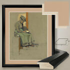 "32W""x38H"": WOMAN READING by LUCIE MARCUS-RITTER - DOUBLE MATTE, GLASS and FRAME"