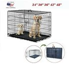 """24""""30""""36""""42""""48"""" Dog Crate Kennel Folding Metal Cat Pet Cage 2 Door W/ Tray Black"""
