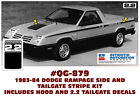 SP QG-879 1983-84 DODGE RAMPAGE 2.2 - BODY STRIPE AND HOOD DECAL  for sale
