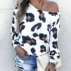 Women Leopard Printed One Shoulder Blouse Ladies Casual Long Sleeve Top Shirt US