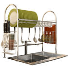 Over Sink Dish Drying Rack 2-Tier Stainless Steel Kitchen Shelf Cutlery Drainer