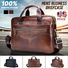 Large Men Genuine Leather Briefcase Handbag Business Satchel Laptop Shoulder Bag