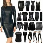 NEW LADIES WOMEN'S PU LEATHER WETLOOK PENCIL SKIRT BODYCON DRESS PVC TOP...