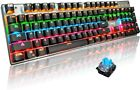 Wired Mechanical Gaming Keyboard Blue Switch RGB Rainbow LED Backlit For PC Mac