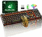 LED Backlit Wireless Gaming Keyboard and Mouse 4000mAh for Computer PS4 Xbox one