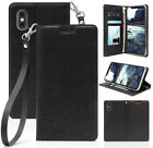 Leather Wallet Case Cover Stand + Wrist Strap for Apple iPhone Xs Max (10s Max)