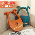 16 String Lyre Harp Solid Mahogany Tuning Wrench Wooden Musical Instrument