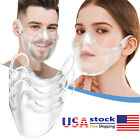 1-3 Pack Reusable Transparent Clear Breathable Face Mask Mouth Shield for Adult