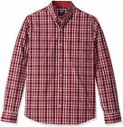 IZOD Men's Slim Fit Button Down Long Sleeve Stretch Performance Plaid Shirt (Dis