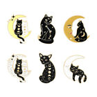 Personalized Moon Phase Cat Brooch Fashion Enamel Pins Backpack Badge Jewelry
