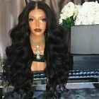 Women's Wavy/Straight Long Synthetic Hair Wigs Ladies Costume Black Brown Wig