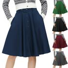 Ladies Skirt Skater With belt Party Cocktail Retro Solid Buttons Casual