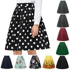 Women Vintage 50s Midi Pinup Swing Pleated Skirt Dress High Wasit Skirt For Gift