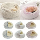 Pet Bed- Round Soft Plush Nest Cave Hooded Cat Bed for Dogs  Cats, Faux Fur