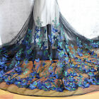 1M 3D Embroidered Butterfly Lace Fabric Floral Tulle DIY Wedding Dress Sew Cloth