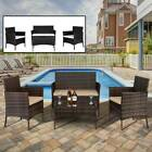 Garden 4 Piece Patio Rattan Wicker Furniture Set Table & Sofa & Chair W/cushions