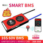 16S 60V Smart BMS 30A 40A 60A Li-on Battery Protection Board Bluetooth 485 CAN
