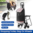 New Foldable Shopping Cart Portable Trolley Carry Bag Wheels With Chair