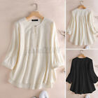 US Women Cotton Causal Loose Bell Sleeve Round Neck Shirts Tops Solid Blouses