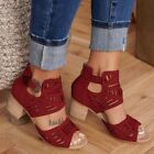Nis Women's Ladies Hollow Out Gladiator Sandals Chunky Heel Zipper Ankle Shoe
