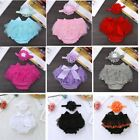 Infant Baby Girls Diaper Cover Set Bloomers Flowers Headband Photography Props