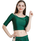 New Belly Dance Tops Half Sleeves Crew Neck Top Vintage Blouse Top Green Color