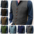 Black Men Vest Tweed Waistcoat Vintage Herringbone Tailored Fit V-Neck Retro 3XL