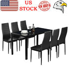 6Pcs PU Leather Chair or Dinner Table Kitchen Dining Room Breakfast Furniture&US