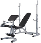 Adjustable Bench and Squat Rack, Preacher Curl Pad + Weight Storage, 800-Pound C