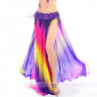 New Belly Dance Soft Gradient Color Skirt 2 Layers 2 Sides Split Skirt 6 colors