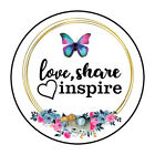 Love Share Inspire Butterfly Sticker Round Envelope Sealers 1.50 inch ST416