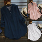 Women Fashion Long Sleeve Button Up Blouse Ladies Oversized Loose Shirt Tops Tee