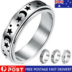 Spinner Rings Titanium Stainless Steel Moon Star Fidget Ring Stress Anxiety Ring