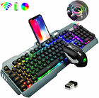Gaming Keyboard and Mouse Set Wireless 2.4GHZ RGB Backlit For PC Laptop PS4 XBOX