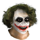 Joker Adult Latex Mask w Hair The Dark Knight SALE FREE USA SHIPPING 68168