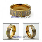 8MM MEN'S TUNGSTEN CARBIDE GOLD TONE CROSS WEDDING RING