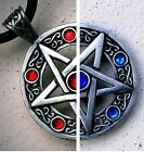 Crystal Pentacle Pentagram Star Pagan Wicca Witchcraft Magic Pewter Pendant