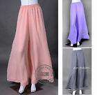 "Chiffon Palazzo Pants Ladies Wide Leg Flared Trousers 41"" Length XS ~ 3XL"