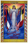 Vintage War POSTER.Patriotic Graphics.Welcome Soldiers!Lady Liberty art.1032