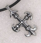 French Fleur De Lis Cross Pewter Pendant/Key Chain