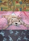 CHILDREN animal DOG print BLUE pink 100% cotton FABRICS