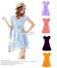 NEW Elegant Short Sleeve Dress Chiffon Dress Full Skirts For Party Club  #GF0259