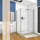 Shower Enclosure Walk In Sliding Door Glass Cubicle Screen Stone Tray V2