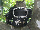 Black Leather Belt and Buckle Scottish Celtic Design