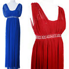 New Beaded Shoulder Drape Party Cocktail Formal Dress Evening Gown