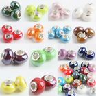 Lots Murano Porcelain Ceramic Rondelle Charm European Bead Big Hole For Bracelet