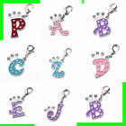 Silver-tone Enamel Crystal Crown Letter Charm Pendant For Bracelet And Necklace